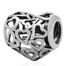 Amor Corazón Calado sólido de plata esterlina encanto grano se adapta a S925 pulsera europea