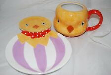 Department 56 Easter Chick Plate and Coffee Mug 2pc Set Dept 56 New