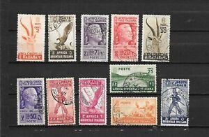 AFRICA ORIENTALE ITALIANA, AOI COLONIE ITALIANE  11 USATI1938  lot lot