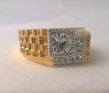 G-Filled Men's 18ct yellow gold ring simulated diamond sparkle Gents nugget new