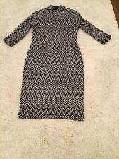 Dorothy Perkins grey zig zag print dress size 10