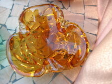 """#I8 HAND BLOWN GLASS ART VASE COLOR AMBER & CLEAR GLASS 8.5"""" INCHES WIDE"""