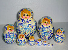 """Beautiful Russian Nesting Doll~10pc~5.75""""~GORGEOUS BLUE&WHITE~HAND PAINTED"""