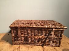 ANTIQUE WICKER  SUITCASE - PICNIC BASKET - COMPLETE WITH LEATHER STRAPS ETC...