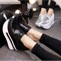 Womens Platform High Heel Sport Athletic Sneaker Loafers Shoes Creepers Sequins