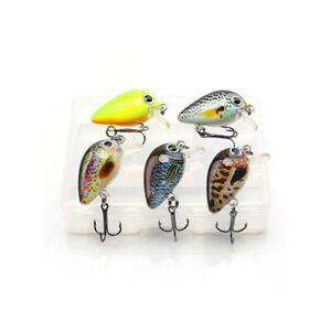 5Pcs Mini Crankbait Hard Bait Fishing Lures Fish Tackle Floating Wobbler Hooks