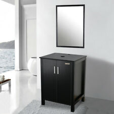 "24"" Black Modern Bathroom Vanity Organizer Cabinet Set Table W/ Top Mirror Wood"