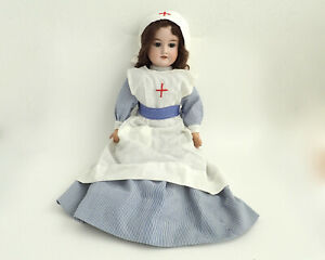 ANTIQUE ARMAND MARSEILLE 390 DOLL IN WW1 NURSE'S UNIFORM, CIRCA 1920