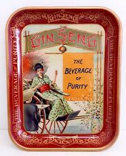 Vintage Gin Seng The Beverage of Purity Soda Advertising Tray Sign MINT