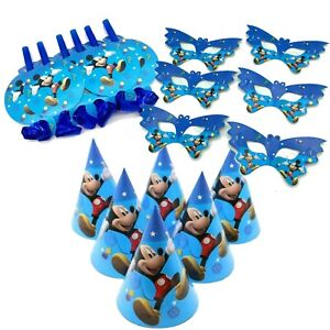 18 PIECE MICKEY MOUSE BIRTHDAY PARTY HATS PARTY BLOWERS EYE MASK FUN PACK