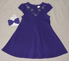 NEW Gymboree JOYFUL HOLIDAY Girls Dress Clothes Bow Hair Ponte Purple size 3