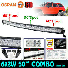 5D 50INCH 672W OSRAM LED Curved Combo Work Light Bar Offroad Driving Lamps SUV
