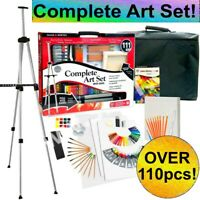 Over 110pcs ART SET Acrylic Paint Watercolour Pencils Pastels Easel Canvas Brush