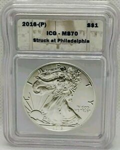 2016 (P) AMERICAN EAGLE $1 ICG MS70 STRUCK AT PHILADELPHIA MINT 1oz Silver Coin