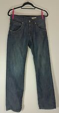 BRAGG Mens Jeans Size W28 L32 Fitted Straight Acid Faded Distressed Blue Men's