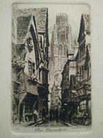 Gravure Rouen eau-forte Rue Damiette par Charles Pinet XIXème siècle