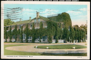 CHARLEVOIX MI Chicago Club Clubhouse Vintage 1933 Michigan Postcard