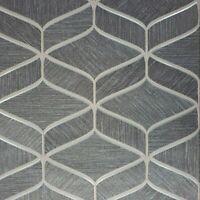 Gray black copper metallic faux fabric textured geometric wave lines Wallpaper