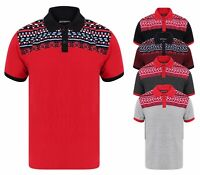Mens Polo Shirt Xmas Winter Snowflake New Pique Poly Cotton Black Navy Red Royal