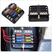Car Truck 6-Way Blade Fuse Holder Box Block Case 12V/24V+12*Fuse 5A 10A 15A 20A