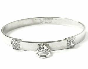 18ct White Gold Hermes Diamond Bangle Collier De Chien Ladies 0.24ct Size Small