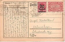 Germany 25.09.1923 Munchen Inflation Cover Card send to Bulgaria