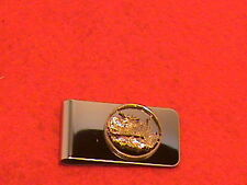 Hand cut Arizona quarter 24 kt gold plated mounted for a money clip