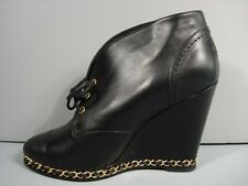 CHANEL BLACK LEATHER LACE UP GOLD CHAIN WEDGE BOOTIE ANKLE BOOTS 39.5/9.5 NEW