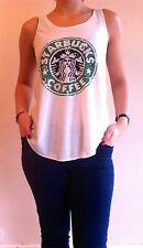 STARBUCKS COFFEE T-Shirt Vest Tank Top TOP Ladies Womens Girls New