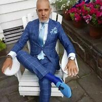 2 Pieces Blue Jacket Coat Blazer Pants Plaid Men Suits Wedding Groom Tuxedos