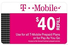 Brand New $40 T-Mobile USA Recharge/Prepaid/Top-Up/Refill Card (Prepaid Plans)