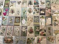 Big Lot of 50 Vintage~EASTER POSTCARDS all with Pretty Flowers-In Sleeves-h327