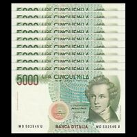 Lot 10 PCS, Italy 5000 5,000 Lire, 1985, P-111, Signature vary, UNC