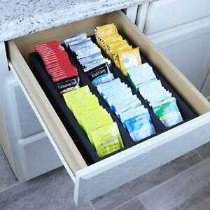 "Tea Bag Drawer Organizer Black Foam Tray Insert Kitchen Packet 10.9"" x 14.9"""