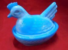 "Vintage 4.25"" Hen on Nest Glass Covered Trinket Dish Blue/White Slag"
