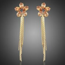 NEW SUNFLOWER GOLD COLOR WITH CHAMPAGNE GOLD  ZIRCONIA DROP EARRINGS JEWELRY