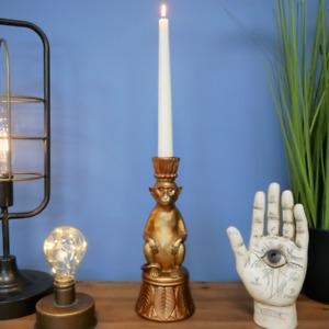 Antique Gold Freestanding Gold Monkey Candlestick Holder 24cm