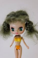 petite blythe doll Customized Re-rooted Mohair ! One Of A Kind!