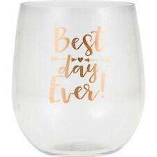 Best Day Ever Printed Stemless Wine Glass -6 Count-New