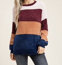 Staccato Women's Crew Neck Color Block Chenille Sweater Burgundy/Navy/Oatmeal