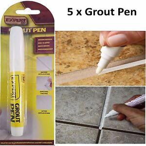 5x White Grout Tiling Pen Tile Reviver Repair Kitchen Bathroom Shower Anti Mould