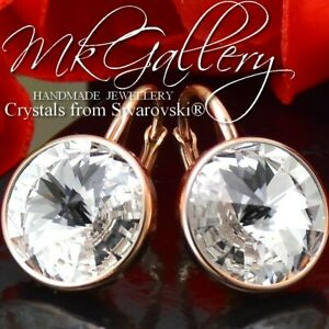 Rose Gold Plated Silver Earrings Crystal (Clear) Rivoli Crystal from Swarovski®