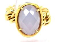 Natural Milky Quartz 15.00ct. Yellow Gold 18k. Used Ring UK Size: M 1/2