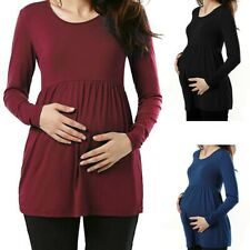 Women Maternity Clothes Long Sleeve Loose Tops Solid Casual Pregnant Blouse US