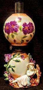 Miniature Fancy Figural Porcelain Oil Kerosene Lamp Girl, Corn Flowers, Complete
