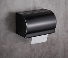 Bathroom Toilet Paper Holder Wall Mount Alumimum Black Single Roll with Cover