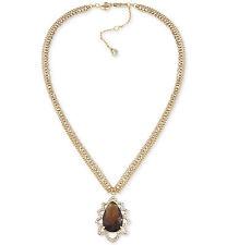 $95 Carolee Gold Tone DESERT OASIS Topaz Glass Stone Pave Pendant Necklace NEW