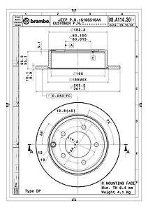 Rr Premium Brake Rotor Brembo 08.A114.31