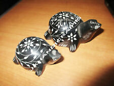 Black Marble Turtle Mother With Baby Sculpture Religious Home Decor Arts Gifts