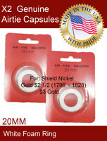 Details about  /5 AirTite WHITE Ring Coin Capsules 19mm US Cents 1858-Date Bust Dime 1796-1828